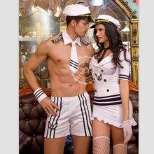 9802  9803 Men and Women Hot Erotic Sexy Slim Fit Navy White Sailor Dress  Seaman Uniform Lingerie Sets Supper Attractive