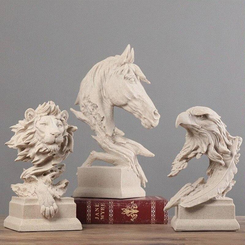 Sandstone Horse Head Figurine Animal Hogar Statue Art&Craft Office Hotel Clubhouse Living Room Decoration L3324