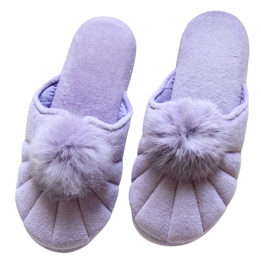 Cute Plush Ball Home Fur Slippers Women Indoor Bedroom Slippers Spring Autumn Floor Warm Shoes vanled 2017 new fashion spring summer autumn 5 colors home plush slippers women indoor floor flat shoes free shipping