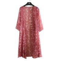 Kimono Cardigan Silk Floral Blouse Long Cardigan Women Tops Chiffon Shirt 2018 Summer Plus Size Korean Camisa Feminina Harajuku