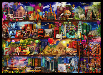 2017 Needlework,DIY DMC 14CT Cross stitch Kit,  World Travel Book Shelf  Pattern Embroidery Cross-stitch Painting Home Decor New
