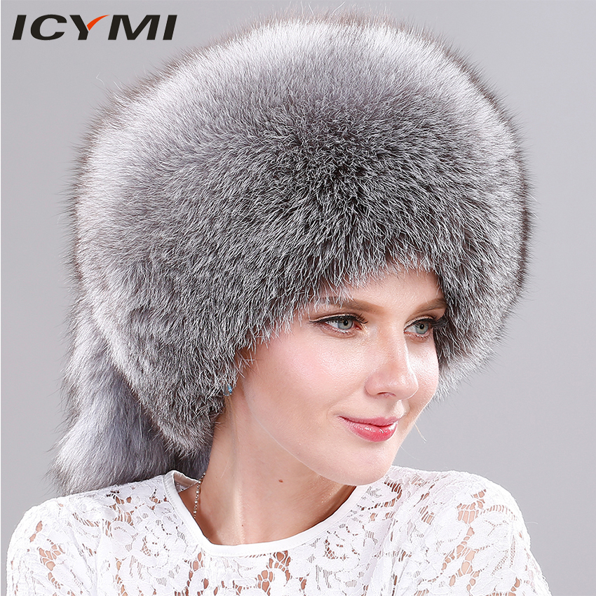 8099c62a80627 ICYMI Whole Piece Fox Fur Hat with Tail Women Winter Cap Real Fur Hat  Fashion Russian Ushanka Thick Warm Ear Protect Female Hat