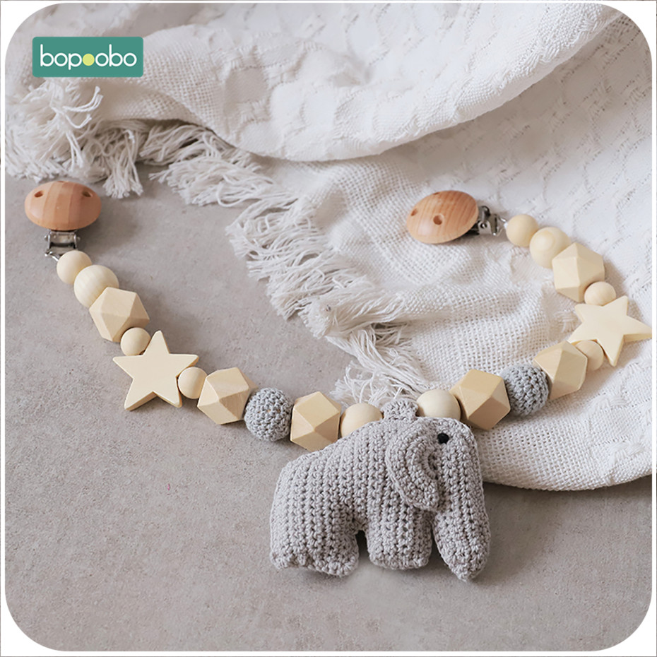 Bopoobo 1PC Baby Rattle Mobile Elephant Toys Pram Cart Activity Bar With Rattle Bed Bells Dummy Clip Pacifier Toy Soother Holder