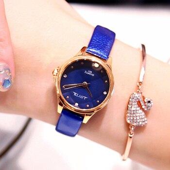 Fashion Women Watches Bracelet Top Brand Blue Small Leather Crystal Wrist Watch New Women Dress Quartz Ladies Clock Dropshiping цена 2017