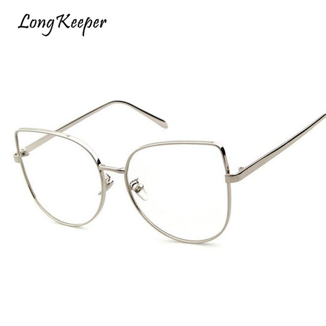 aa1a6b96db2 Long Keeper Optical Glasses Men Cat Eye Eyeglasses Metal Frame glasses 2018  Male Female Computer Work
