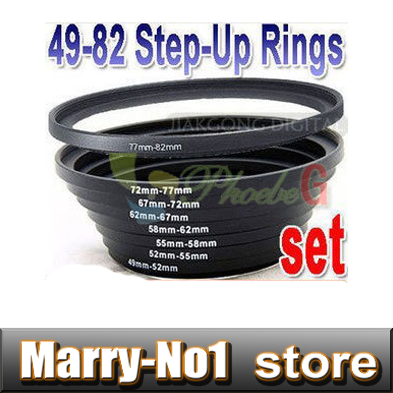 8pcs 49-52-55-58-62-67-72-77-82 mm Metal Step Up Rings Lens Adapter set Free shipping +Tracking Number