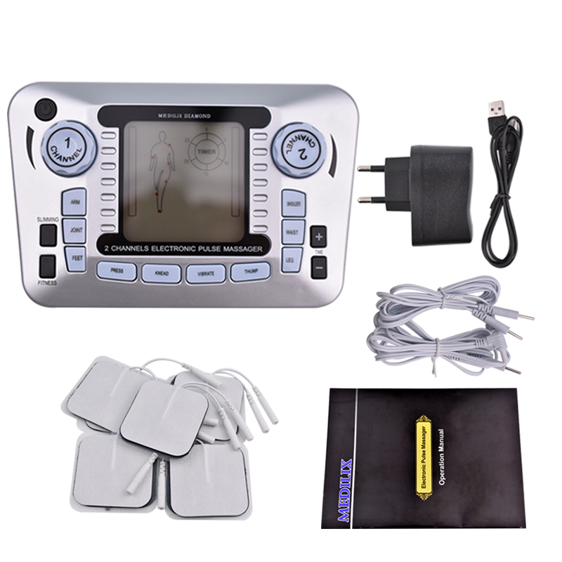 Electric Ems Muscle Low Frequency Stimulator Full Body Pulse Tens Acupuncture Therapy Massager Pain Relief Body Slimming +10 Pad 2017 new biofeedback pain relief tens unit with low and medium frequency with colorful screen voice multifunction 10 modes