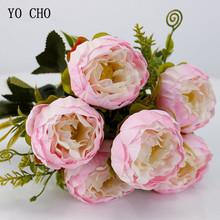 YO CHO sztuczne kwiaty róże piwonie fałszywe kwiaty różowy jedwab biały piwonia bukiet dekoracje weselne sztuczne kwiaty tanie tanio Strona Silk Peonies Rose Jedwabiu Bukiet kwiatów Centerpieces artificial peony bouquet Silk Flowers Home Decoration Decorative Flowers Wreaths 6 Flower heads