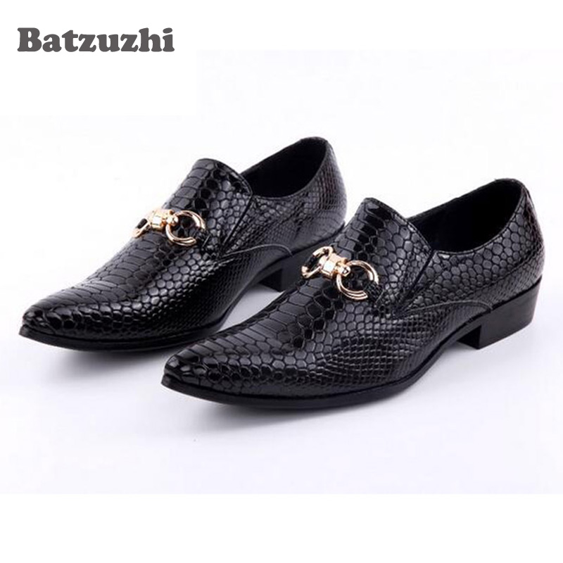 2018 New Luxury Men Dress Shoes Handmade Genuine Leather Slip On SnakeSkin Italian Weddi ...