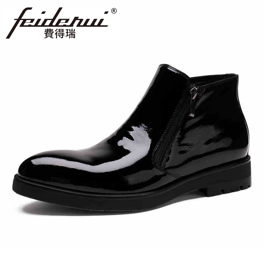 Italian Designer Patent Leather Men's Ankle Boots Pointed Toe Flat Platform Martin Cowboy Man Formal Dress Outdoor Shoes YMX310 цены онлайн