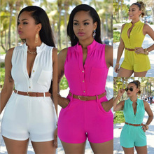 Ao Mi Ke Rong Sexy Combinations Jumpsuit Romper Bodycon Bandage Playsuit Short Cotton
