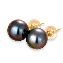Anti Allergic Real 18k Gold Earrings 7.5-8MM Round Seawater Tahitian Black Pearls Stud Earrings For Women Trendy Anniversary цена в Москве и Питере