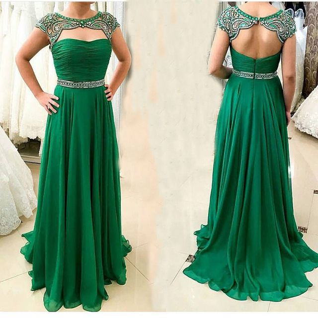 b64c17ae4c4 vestido baile Sexy Open Back Party Evening Dress Women Formal Prom Gown  Luxury Crystal Beading Emerald Green Long Prom Dresses