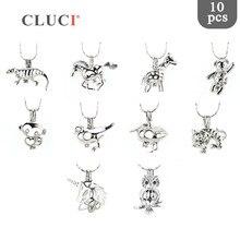 CLUCI 10 teile/satz Tier Stile Perle Käfig Anhänger für Frauen Halskette Machen Silber Überzogene Wünschen Perle Medaillon Schmuck MPC005SB
