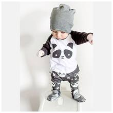 2018 la venta caliente del otoño ropa recién nacida del bebé unisex de la  historieta de la panda de manga larga t-shirt + Pantal. 72ff6bb6179d