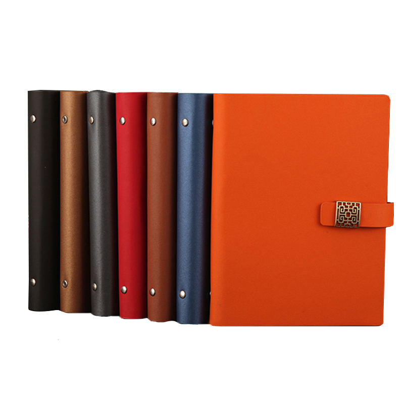 RuiZe fashion Magnetic buckle spiral notebook A5 leather notepad planner 6 ring binder loose leaf note book can be refilled купить недорого в Москве