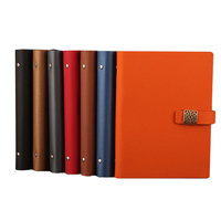 RuiZe Fashion Magnetic Buckle Spiral Notebook A5 Leather Notepad Planner 6 Ring Binder Loose Leaf Note