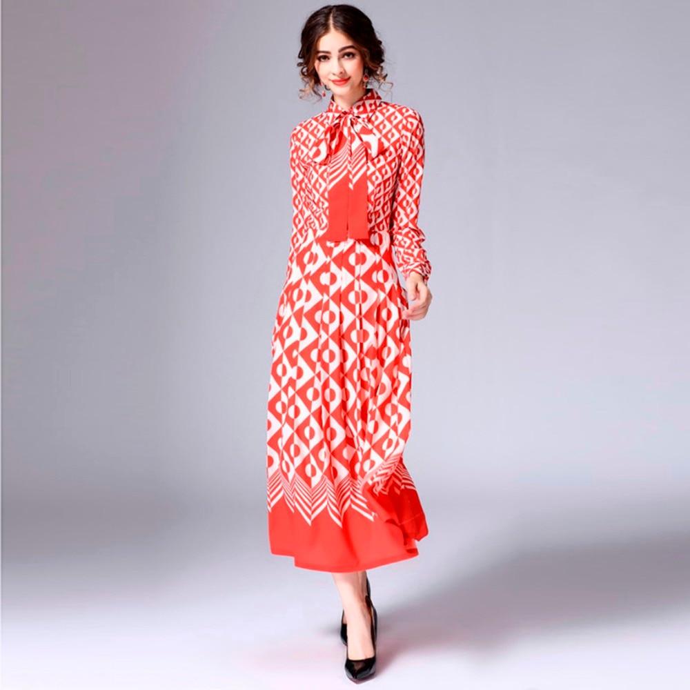 cou 7xl Élégant Manches Femmes Soie Rouge Pleine Robe 2019 Taille Dot Personnalisé Arc S Plus Automne Date O Coloré mollet Mi Imprimer Zpw4W7qE