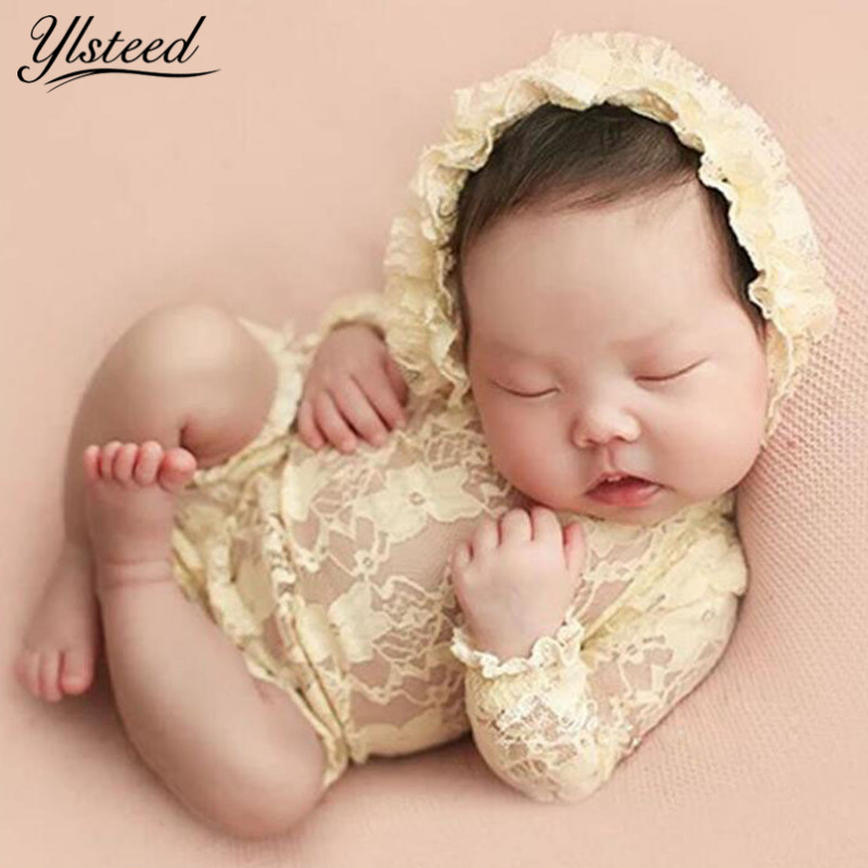 Newborn Long Sleeve Lace Romper Hat Set Baby Photography Props Infant Photoshoot Outfits V Back Baby Girl Romper Newborn Picture