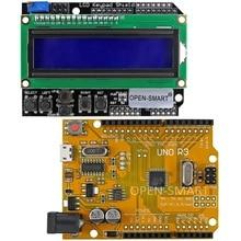 OPEN-SMART Micro USB UNO R3 ATmega328P Development Board + LCD 1602 Keypad Shield Kit for Arduino – Yellow