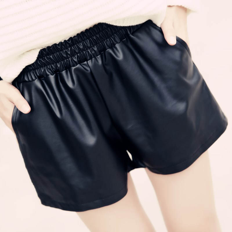 Image 5 - Danjeaner S XXL 2018 New Elastic Waist PU Leather Shorts Women's Black High Quality Short Pants With Pockets Loose Casual Shorts-in Shorts from Women's Clothing