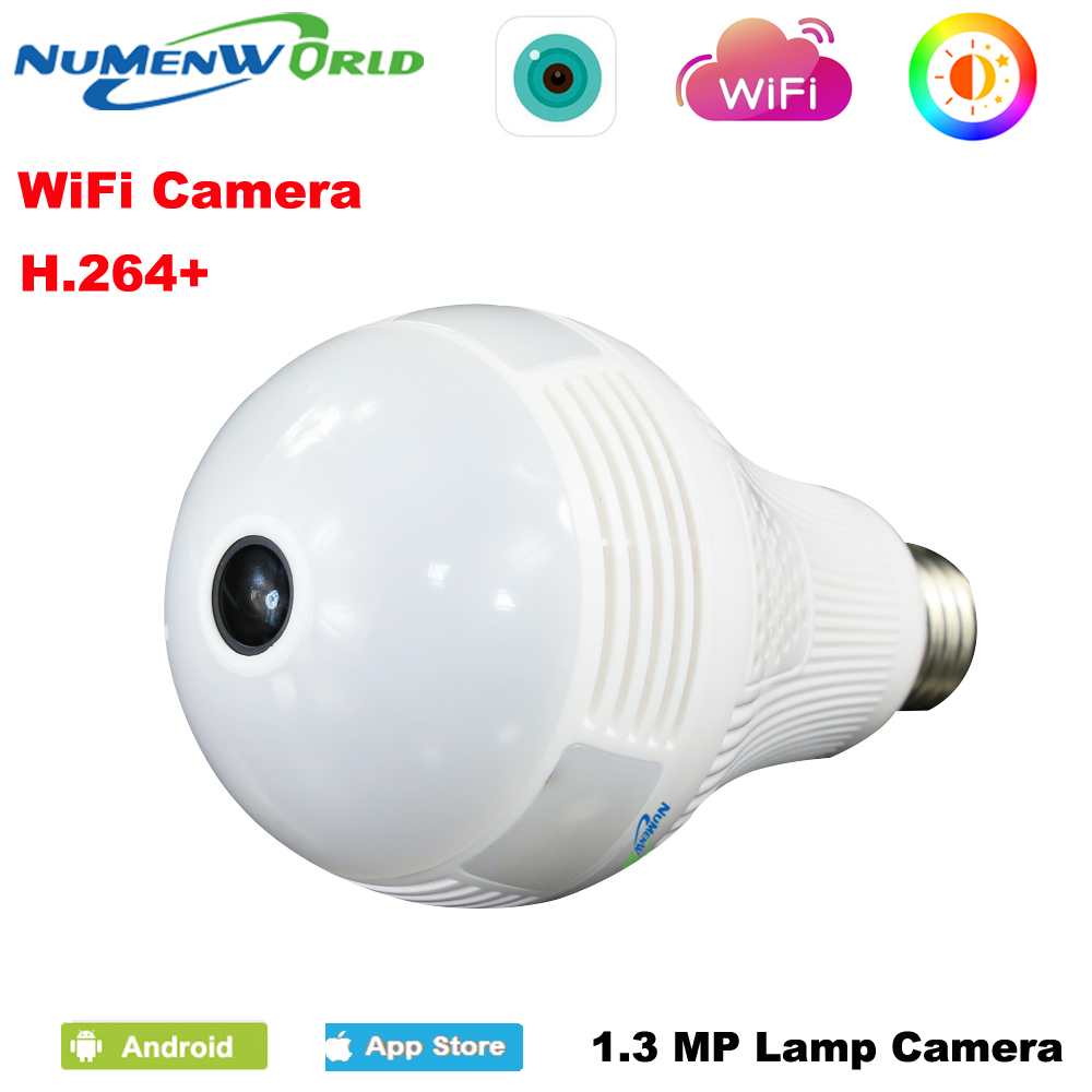 Numenworld 960P CCTV IP cam 360 Panoramin Smart Home Safty Wifi VR Camera LED Bulb Security Camcorder Support PC Tablet Phone smart bulb e27 7w led bulb energy saving lamp color changeable smart bulb led lighting for iphone android home bedroom lighitng