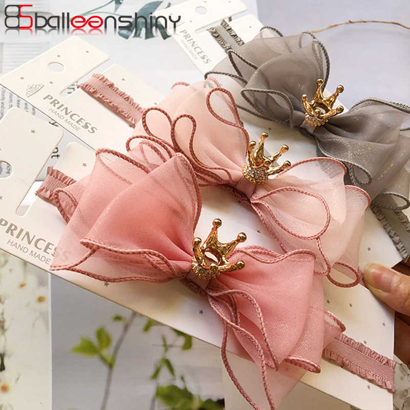 BalleenShiny Baby Girls Bowknot Crown Headband Lace Elastic Princess Hair Band Fashion New Style Children Kids Hair Accessories