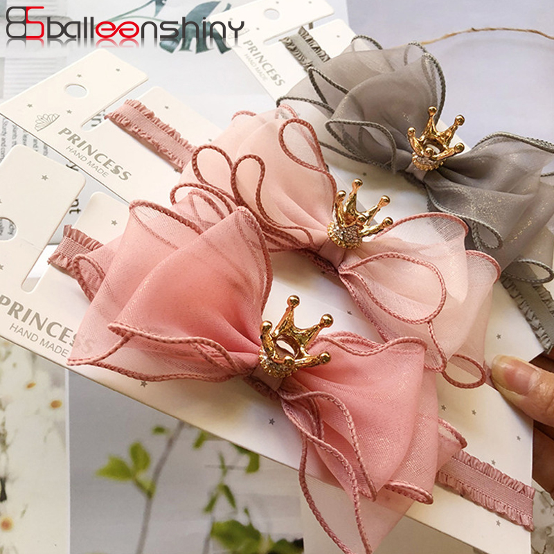 BalleenShiny Baby Girls Bowknot Crown Headband Lace Elastic Princess Hair Band Fashion New Style Children Kids Hair Accessories 1pcs new lace baby headband chic lace mix 4 flower princess girls headband hair bow headband baby girl children hair accessories