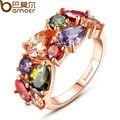 Bamoer уникальный дизайн 18 К позолоченные мона лиза кольцо для женщин свадьба с AAA красочные корень циркон бижутерия JIR052