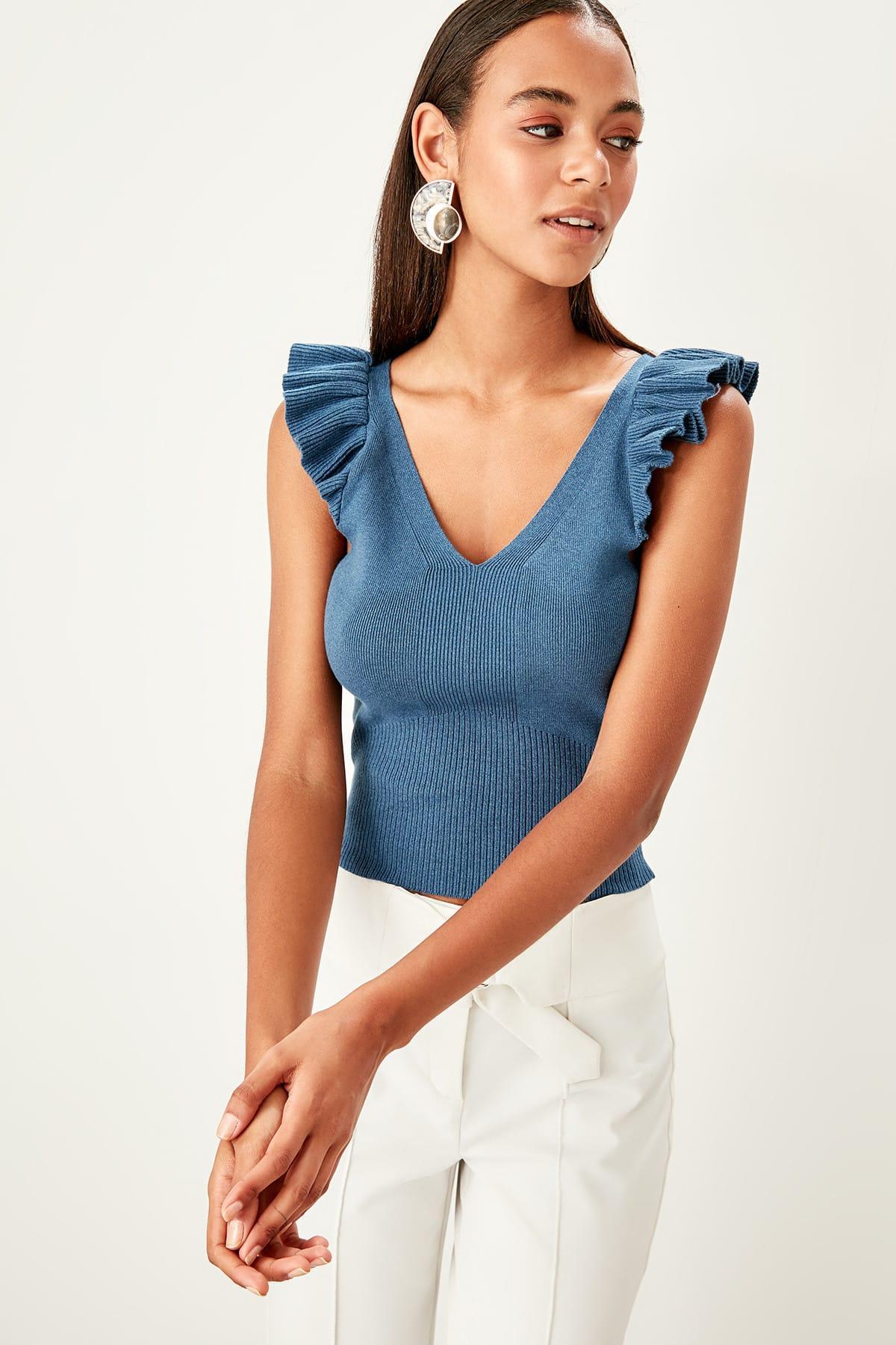 Trendyol Petrol V-Neck Knitwear Blouse TWOSS19YN0267