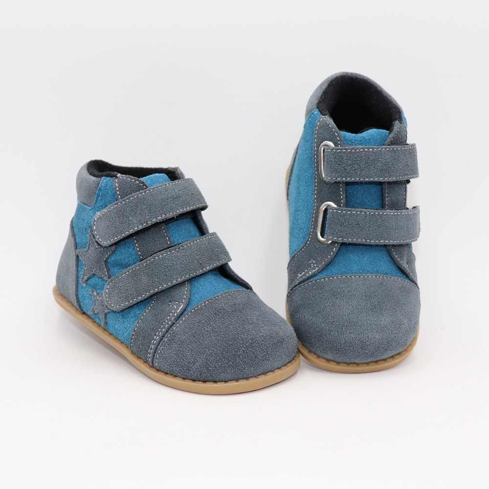 Tipsietoes New Winter Children Barefoot Shoes Leather Martin Toddler Boots Kids Snow Boys Rubber Fashion Star Sneakers Bota