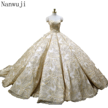 Big Train Ball Gown 100% Real Luxury Full Sequins Bling  Arabic Wedding Dress Champagne 2018 Dresses