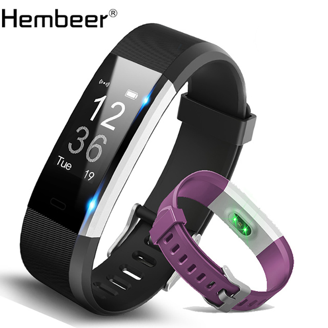 Hembeer H115 Smart Bracelet Gps Fitness Tracker Watches Band Heart Rate Monitor Step Counter Alarm Clock