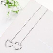 My Shape Fashion Threader Heart Earrings Stainless Steel Hollow Love Pendant Dangle Earring Drop Modern Jewelry