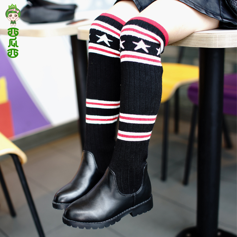 WENDYWU  2017 new winter boots shoes all-match children Knee Boots Princess Leather shoes cotton boots high boots kelme 2016 new children sport running shoes football boots synthetic leather broken nail kids skid wearable shoes breathable 49