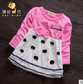 2016 girls bottoming shirt infant children long-sleeved t-shirt female baby Spring  dot sweet shirt 0-2years