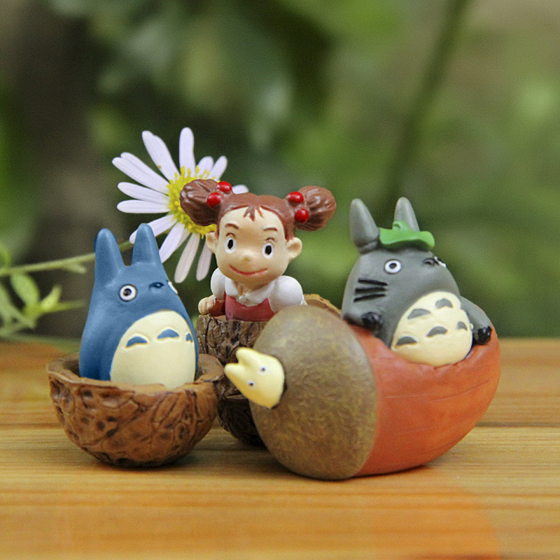 3pcs/lot Miyazaki Hayao My Neighbor Totoro Figure Toys DIY Walnut Totoro May Resin Action Figures Collection Model Toy for Kids
