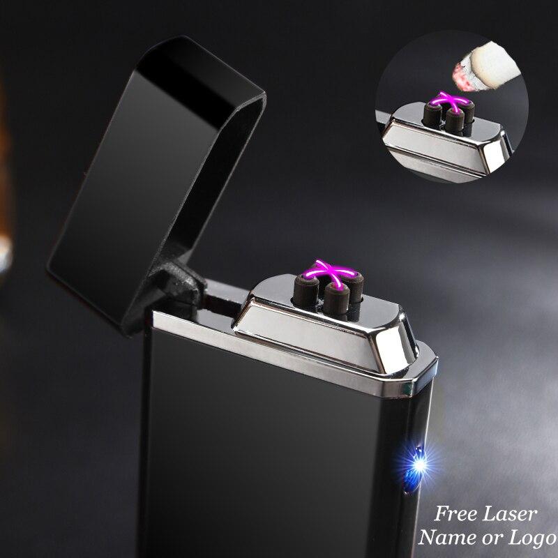 Heißer USB Elektrische Doppel Arc Leichter Wiederaufladbare Winddicht Leichter Zigarette Dual Donner Puls Kreuz Plasma Leichter