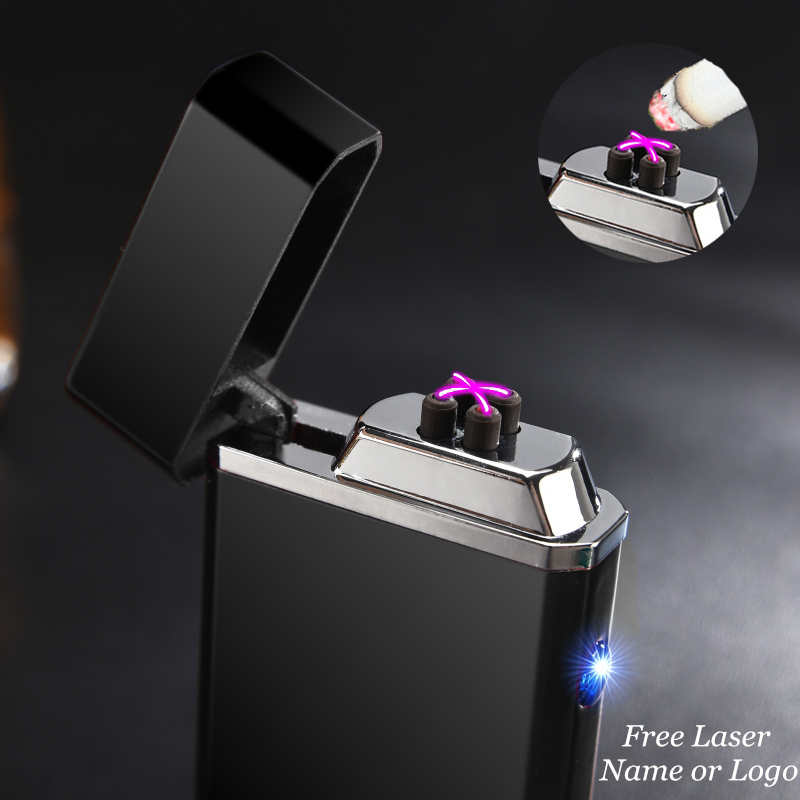 Hot USB Electric Double Arc Lighter Rechargeable Windproof Lighter Cigarette Dual Thunder Pulse Cross Plasma Lighter