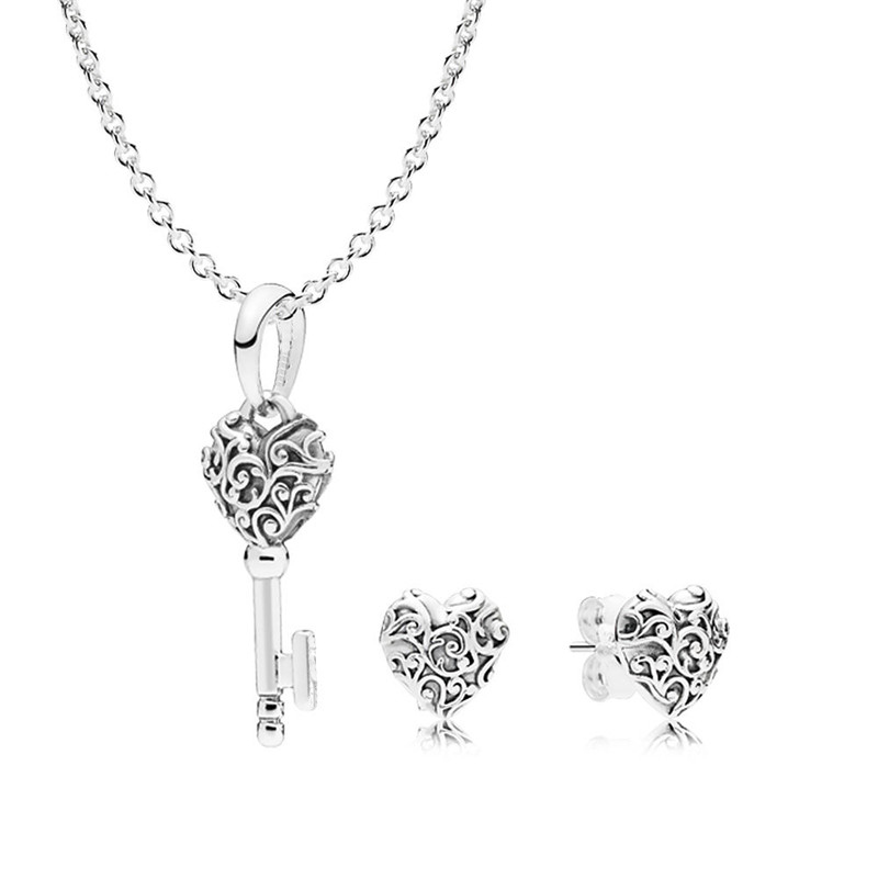 Pandulaso Regal Key Pendant Chain Necklaces & Heart Stud Earrings for Women Silver Jewelry Sets Autumn Choker Necklaces&Earrings a suit of graceful heart key pendant necklaces jewelry for lover