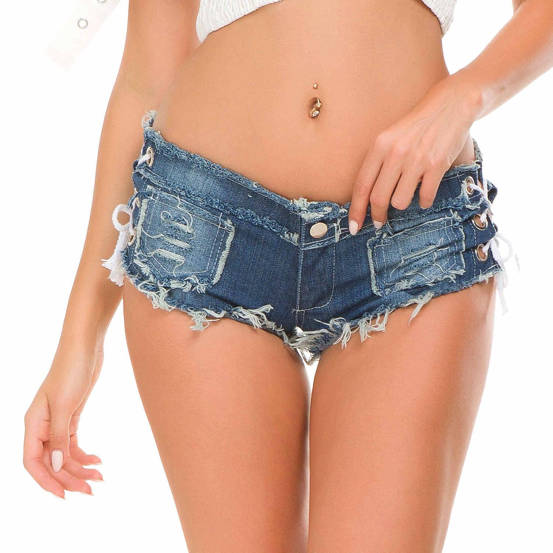Strój do klubu nocnego Sexy Jeans krótkie wysokiej wytnij gorące spodnie niskiej talii spodenki jeansowe dżinsy kobiety w stylu Vintage mikro Mini krótkie Punk Hip hop