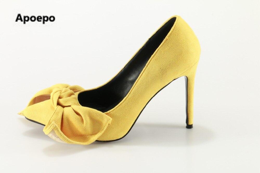 Apoepo brand yellow shoes elegant butterfly shoes women pointed toe high heels pumps shoes women shallow ladies shoes толстовка женская puma urban sports fz hoody цвет темно зеленый 59404414 размер m 44 46