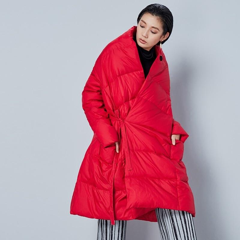 red Casual Mode Corée Solide Le Black Zll1465 white Asymétrique De Zll1465 Bas Épais Duvet Canard Blanc Zll1465 Femmes 2018 xitao Bandage Lâche Couleur Automne Vers Manteau gqfdwEq5