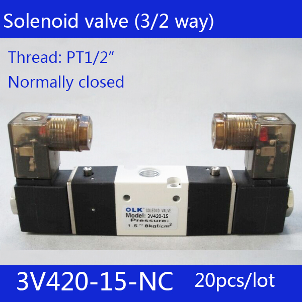 20pcs Free shipping 3V420-15-NC solenoid Air Valve 3Port 2Position 1/2 Solenoid Air Valve Single NC Normal Closed,Double control free shipping high quality 1 2 dc24v 3w 4v420 15 air control 2 position air guide solenoid valve