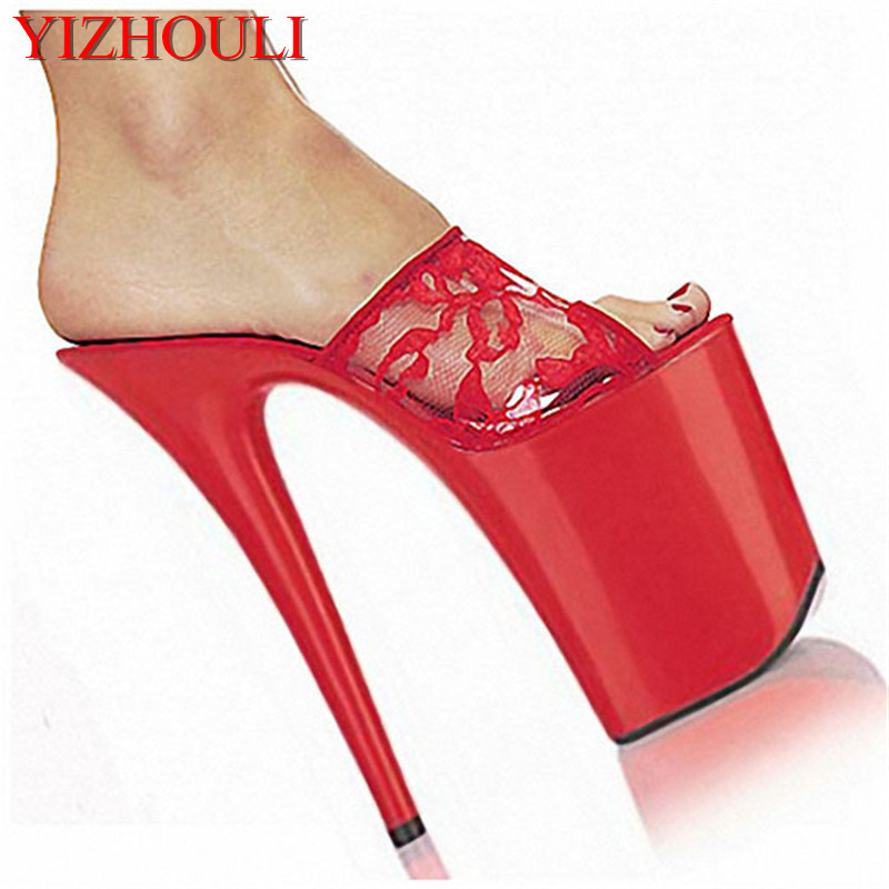 Plus Size Women's Shoes 20cm High-Heeled Shoes Solid Platform Shoes Lace 8 Inch Sweet Embroider Sexy Party Stripper Shoes босоножки sweet shoes sweet shoes sw010awtbr38