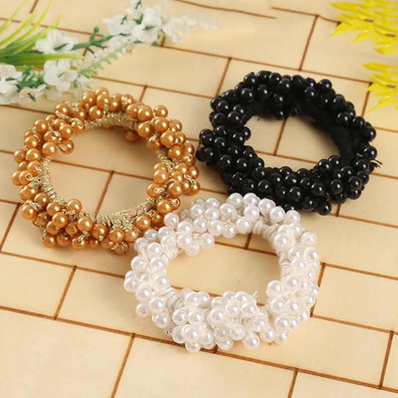 Fashion Pearls Bead Elastic Rubber Hair Bands Elegant Headwear Women Girl Hair Rope Scrunchy Ponytail Jewelry Hair Accessories