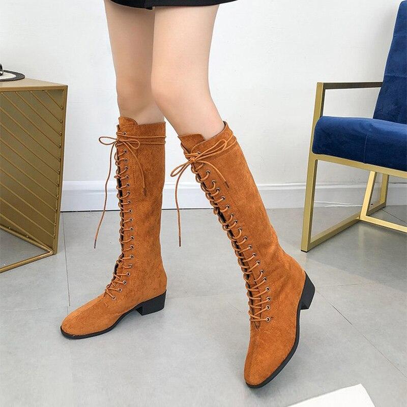 2018 Neue Mode Kniehohe Stiefel Frauen Lace Up Zipper Flock Oberschenkel Hohe Stiefel Herbst Winter Damen Medium Ferse Hohe Rohr Schuhe Bequemes GefüHl