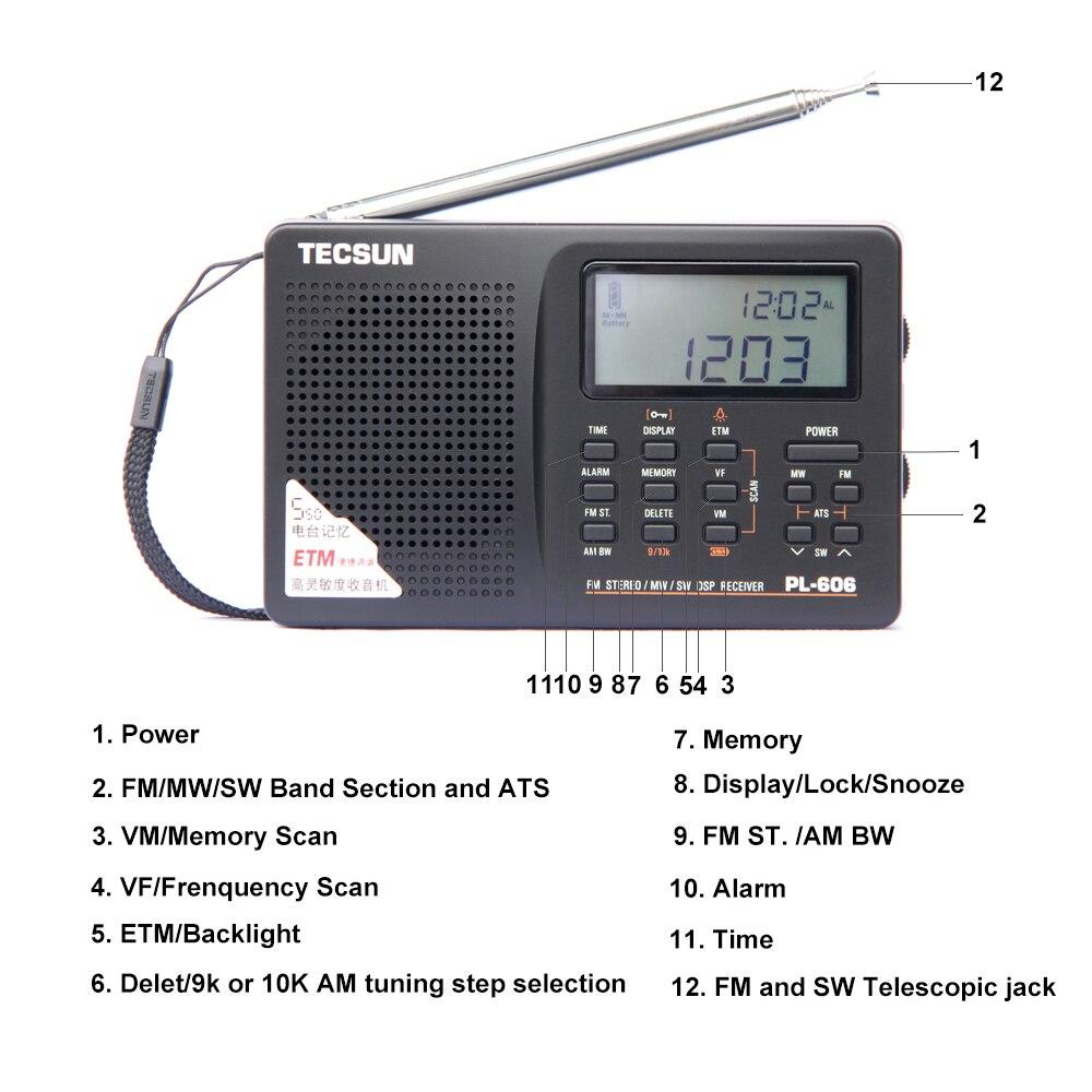Image 2 - Tecsun PL 606 Digital PLL Portable Radio FM Stereo/LW/SW/MW DSP Receiver Black-in Radio from Consumer Electronics