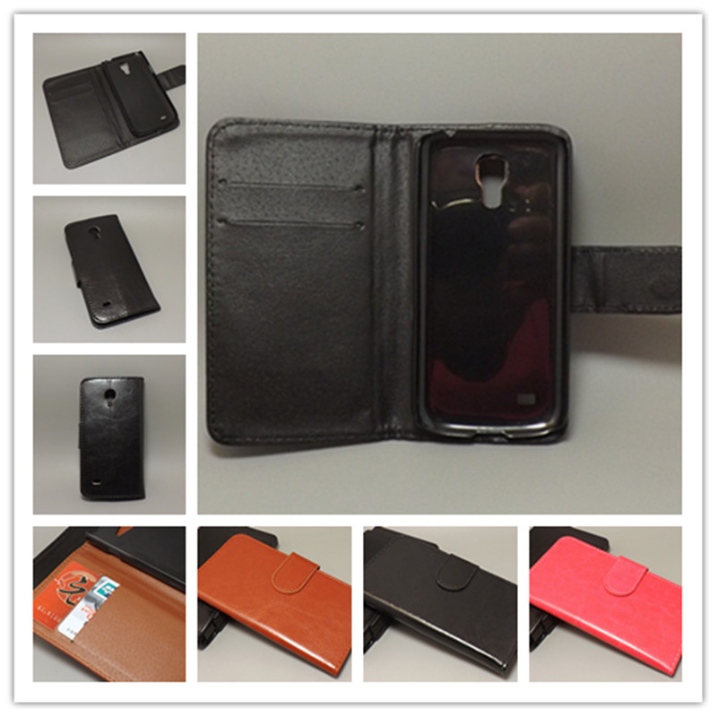 Crazy horse wallet case hold two Cards with 2 Card Holder and pouch slot for Samsung Galaxy S4 Mini i9190 i9192 i9195