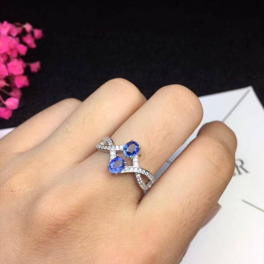 Uloveido Natural Sapphire Ring, Sri Lankan Mine, 925 Sterling Silver, Latest design,2 4*5mm Gemstone, with Certificate FJ330Uloveido Natural Sapphire Ring, Sri Lankan Mine, 925 Sterling Silver, Latest design,2 4*5mm Gemstone, with Certificate FJ330